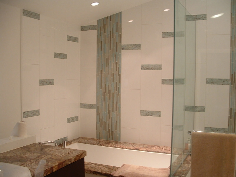 Shower Remodel Glass Tiles Contemporary remodeling small bathroom